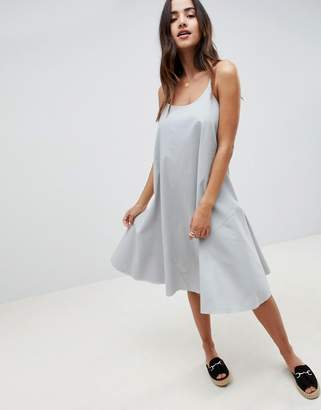 Asos DESIGN Trapeze Swing Lace Up Back Midi Sundress