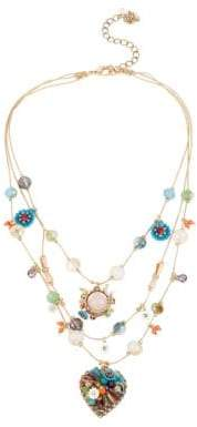 Betsey Johnson Weave and Sew Woven Mixed Multi-Colored Bead and Flower Heart Illusion Necklace