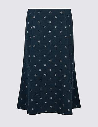Classic Spotted Jersey A-Line Midi Skirt