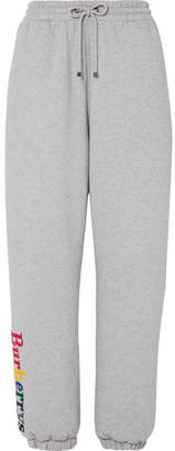Burberry Embroidered Cotton-blend Jersey Track Pants - Gray