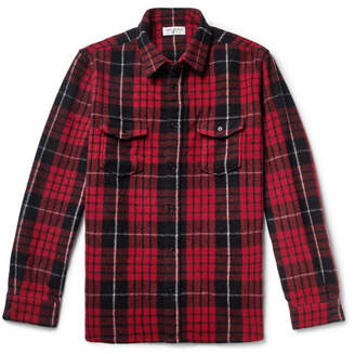 Saint Laurent Checked Wool-blend Overshirt - Red