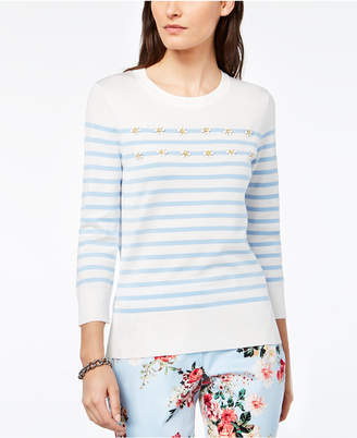 Tommy Hilfiger (トミー ヒルフィガー) - Tommy Hilfiger Striped Floral-Applique Sweater, Created for Macy's