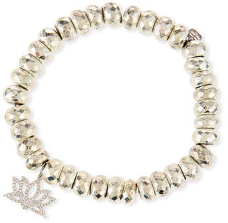 Sydney Evan Pyrite Bead Bracelet with Diamond Lotus Charm