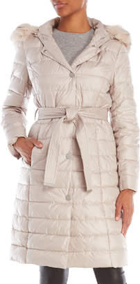 Kenneth Cole New York Faux Fur-Trimmed Belted Long Coat