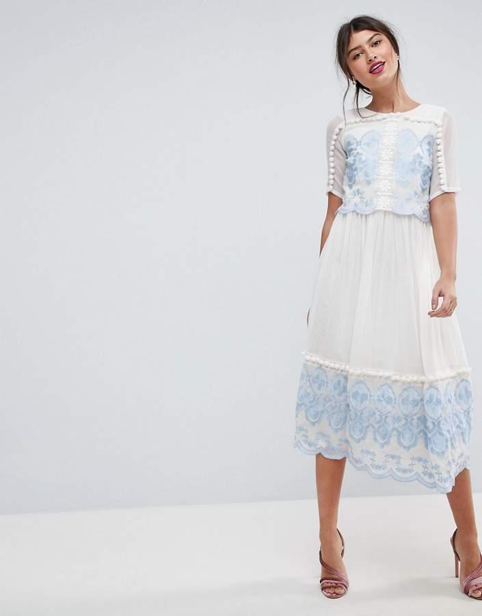 AsosASOS PREMIUM Double Layer Midi Embroidered Dress