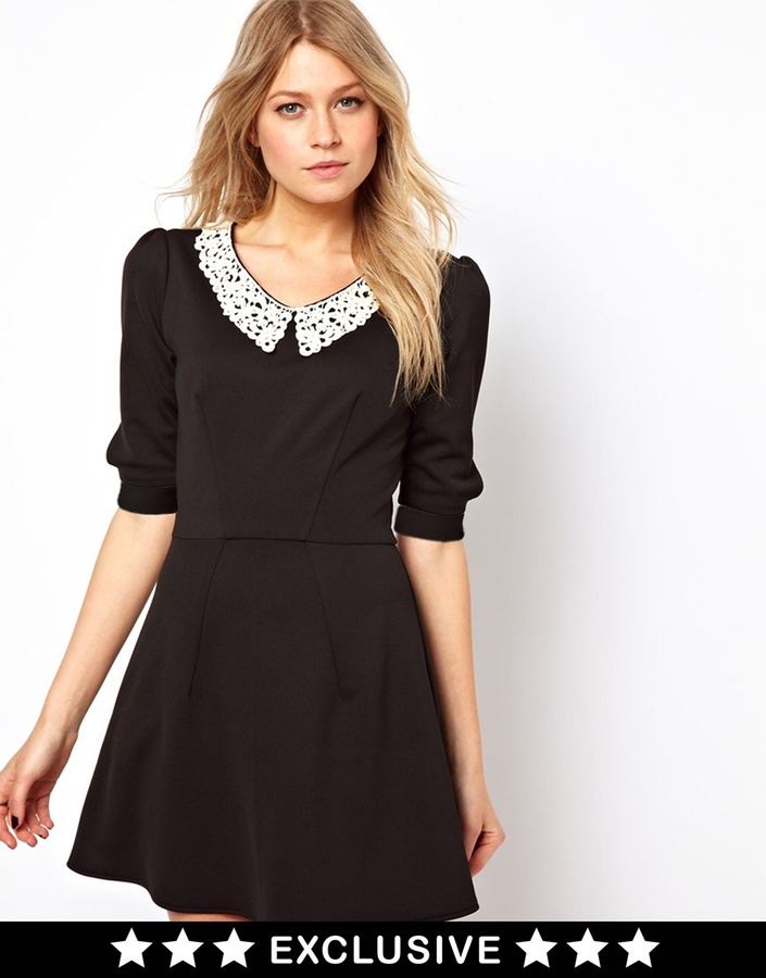 Love Skater Dress With Contrast Collar - Red