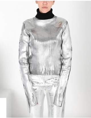 Maison Margiela Silver Coated Ribbed Knit Pullover