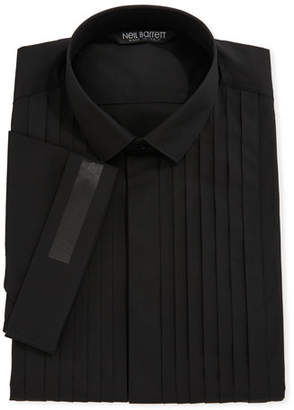Neil Barrett Pleated-Bib Short-Sleeve Tuxedo Shirt