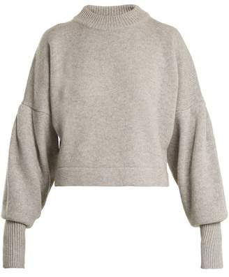 Tibi - Pleated Sleeve Cropped Sweater - Womens - Grey