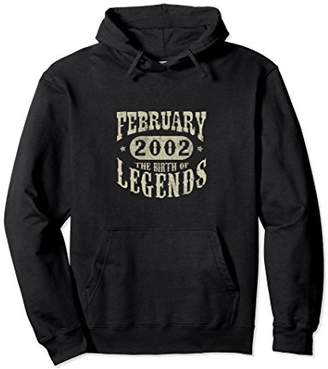 16 Years 16th Birthday February 2002 Birth of Legend Hoodies