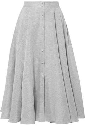 Co Pinstriped Textured Linen And Silk-blend Midi Skirt - Storm blue