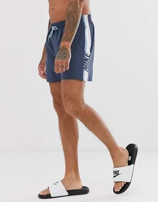 Swimming super short swim shorts with retro stripe in blue