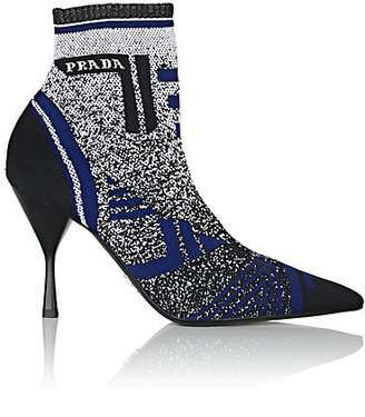 Prada Women's Logo Jacquard-Knit Ankle Boots - Blue