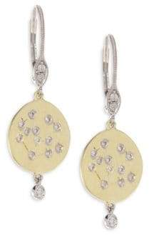 Meira T Diamond& 18K Yellow Gold Disc Earrings