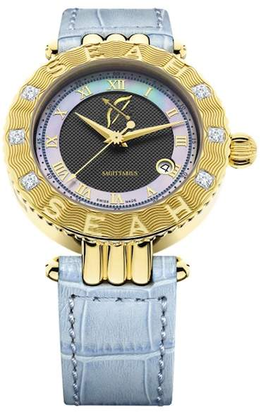 Seah Designs Unisex Blue Genuine Alligator Strap Diamond Accented Empyrean Zodiac Watch - Sagittarius - 0.50 ctw
