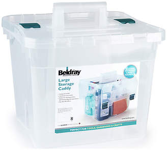 Beldray Large Plastic Storage Caddy with Lid - Clear