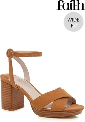 Next Womens Faith Wide Fit Stacked Heel X Over Platforms