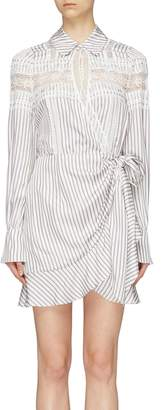 Self-Portrait Ruffle trim stripe wrap mini shirt dress
