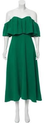 Lela Rose Off-the-Shoulder Ruffle Dress Green Off-the-Shoulder Ruffle Dress