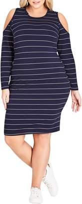 City Chic Stripe Cold Shoulder Dress