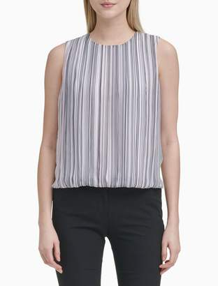 c926d0bdf4e905 Calvin Klein Striped Pleat Front Sleeveless Blouse