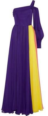 Carolina Herrera One-Shoulder Color-Block Silk-Chiffon Gown