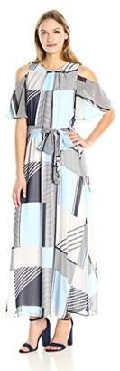 Calvin Klein Women's Printed Maxi Dress with Flutter Sleeve