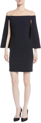 Oscar de la Renta Cape-Back Off-the-Shoulder Illusion Straight Wool Cocktail Dress