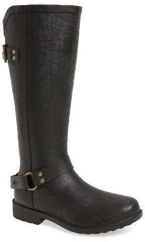Chooka Women's Chooka Brindle Textured Moto Rain Boot