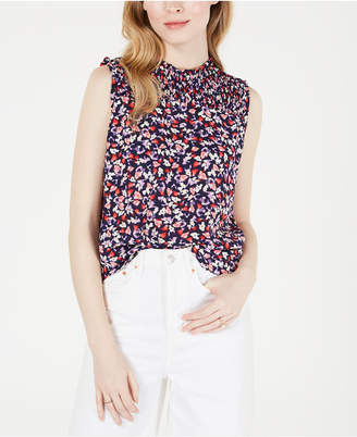 Maison Jules Printed Sleeveless Smocked Top