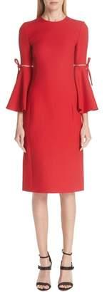 Oscar de la Renta Split Trumpet Sleeve Wool & Silk Crepe Dress