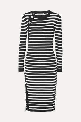 Altuzarra Arzel Button-detailed Striped Ribbed-knit Midi Dress - Black