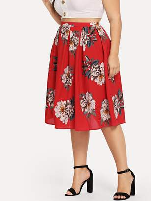 Shein Plus Box Pleated Floral Skirt