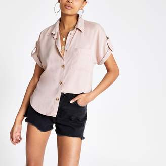 River Island Womens Pink tencel utility short sleeve shirt