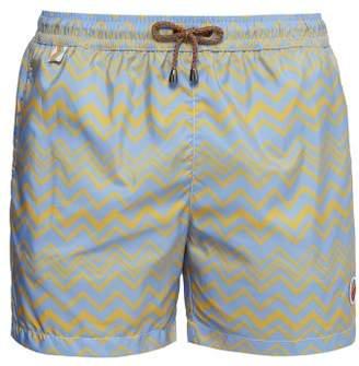 Mare - Chevron Striped Technical Twill Swim Shorts - Mens - Light Blue