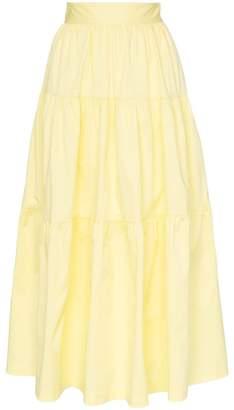STAUD tiered cotton-blend maxi skirt