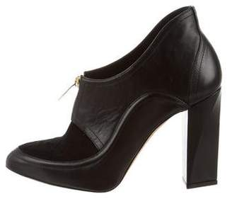 Maiyet Leather Ponyhair-Accented Booties