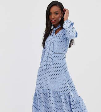 f86f19ef182099 Glamorous Tall midi dress with neck tie in spot print