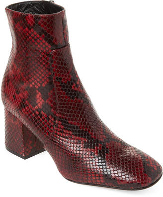 Alberto Zago Snake-Effect Leather Ankle Booties
