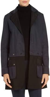 St. John Stretch Denim & Taffeta Outerwear Convertible Coat