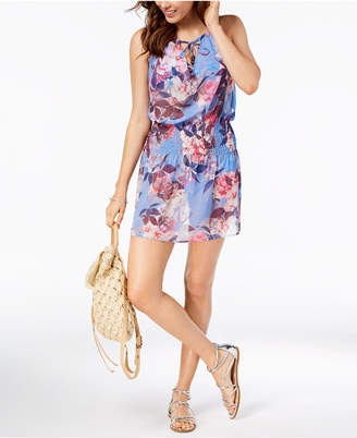 Becca Floral-Print Smocked Cover-Up Women Swimsuit