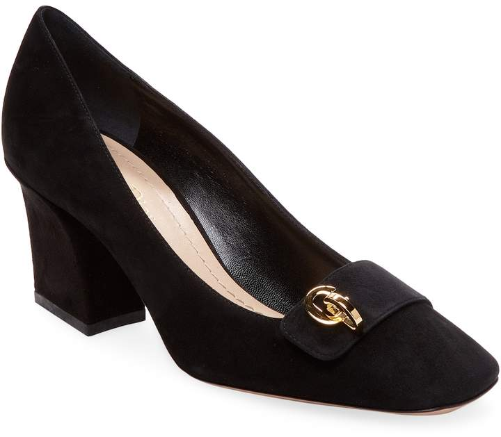 Dior Women's Block Heel Suede Pumps
