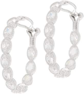 Judith Ripka Sterling or 14K Clad Oval Diamonique Hoop Earrings