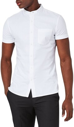 Topman Muscle Fit Stand Collar Oxford Shirt