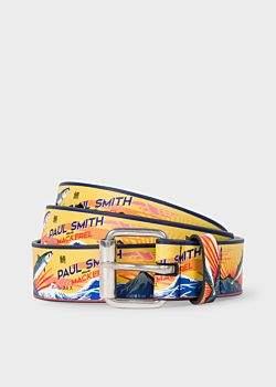 Paul Smith Men's 'Mackerel' Print Leather Belt
