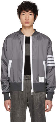 Thom Browne Grey Four Bar Light Weight Bomber Jacket