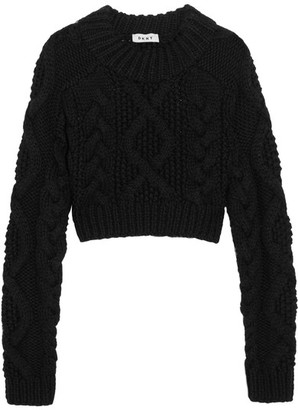 DKNY - Open-back Cable-knit Merino Wool Sweater - Black $525 thestylecure.com