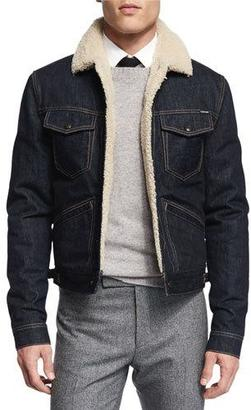 TOM FORD Denim Jacket with Shearling Lining $3,290 thestylecure.com