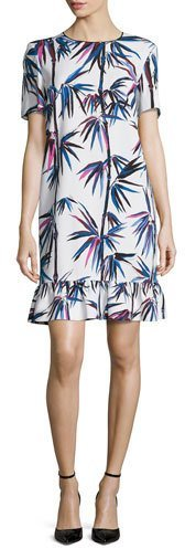 Emilio Pucci Emilio Pucci Short-Sleeve Printed Ruffle-Hem Dress, White/Multi