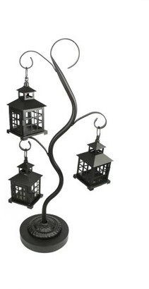 """Christmas Central 27.25"""" Black Mission Style Tea Light Candle Holder Tree with 3 Lanterns"""